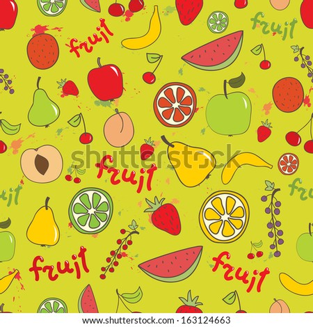 Fruit seamless bright vector pattern. Apple, peach, banana, cherry, orange, lemon, watermelon on bright background. Can be used for wrapping, textile, wallpaper. - stock vector