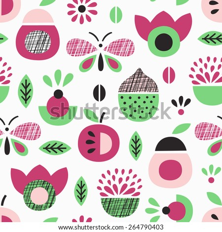 Fruit seamless pattern. Vector illustration. - stock vector