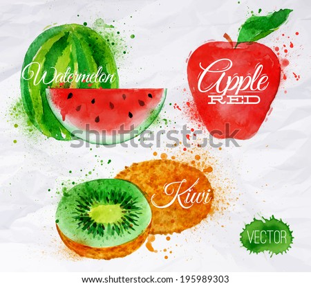 Fruit set drawn watercolor blots and stains with a spray watermelon, kiwi, apple red - stock vector