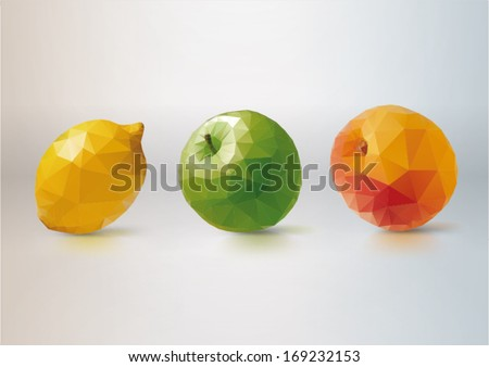 Fruit Set: lemon, apple, peach. Low-poly triangular style illustration - stock vector