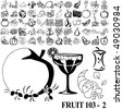 Fruit set of black sketch. Part 103-2. Isolated groups and layers. - stock vector