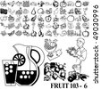 Fruit set of black sketch. Part 103-6. Isolated groups and layers. - stock vector
