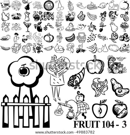 Fruit set of black sketch. Part 104-3. Isolated groups and layers. - stock vector