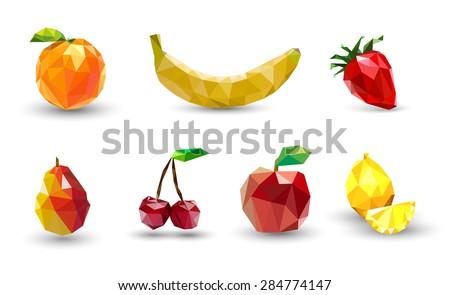Fruit set of polygons . Apple, lemon , cherry, banana, orange, strawberry and pear. Vector Illustration - stock vector