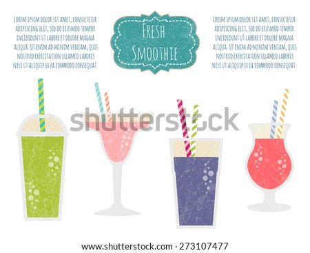 Fruit smoothie set. Healthy life concept. Fresh juice made in flat style. Organic raw shake. Vector illustration. - stock vector