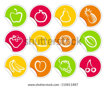 Fruit stickers - stock vector