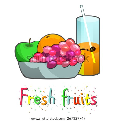 Fruit vase with fresh juice  still life of apple grape orange and banana. vector illustration - stock vector