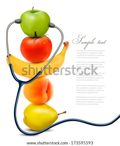 Fruit with a stethoscope. Healthy eating concept. Vector. - stock vector