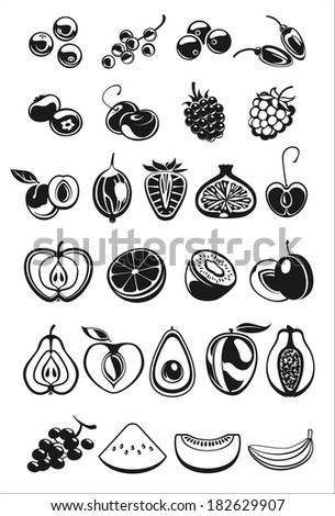 fruits and berry black and white icons - stock vector