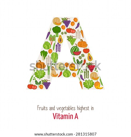 Fruits and vegetables highest in vitamin A composing A letter shape, nutrition and healthy eating concept - stock vector