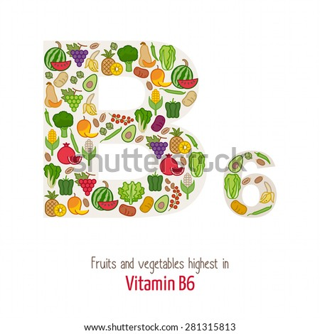 Fruits and vegetables highest in vitamin B6 composing B6 letter shape, nutrition and healthy eating concept - stock vector