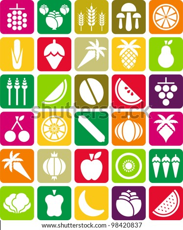 fruits and vegetables icons - stock vector