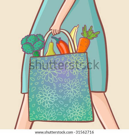 fruits and vegetables in the bag - stock vector
