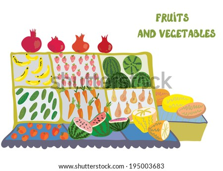 Fruits and vegetables market counter - illustration - stock vector