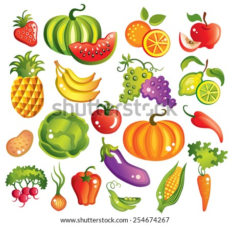 Fruits  and vegetables set vector illustration - stock vector
