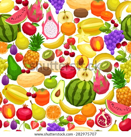 Fruits Background, Bright Seamless Pattern With Flat Fruits - stock vector
