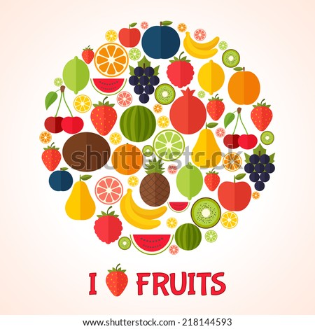 Fruits background in flat style. Colorful template for cooking, restaurant menu and vegetarian food  - stock vector