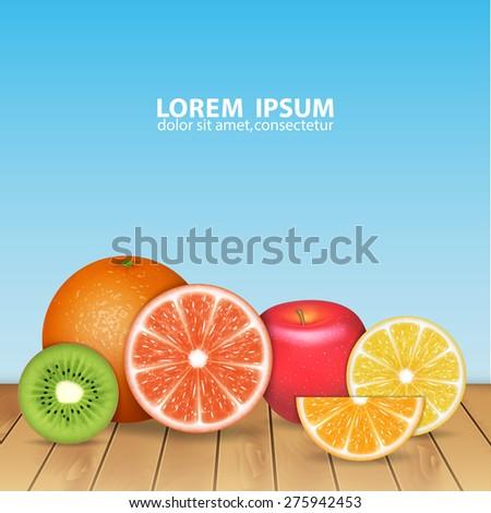 Fruits background. Orange, lemon, grapefruit, apple and kiwi. High quality vector. EPS10 vector - stock vector