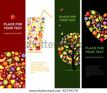 Fruits banners vertical for your design - stock vector