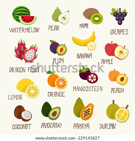 Fruits collection - stock vector
