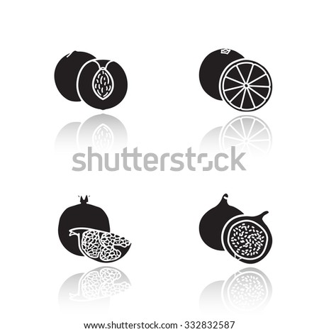 Fruits drop shadow icons set. Half sliced apricot and pomegranate with seeds. Sweet summer fruits. Cut into pieces orange and fig glossy symbols. Black cast shadow silhouettes illustrations. Vector - stock vector