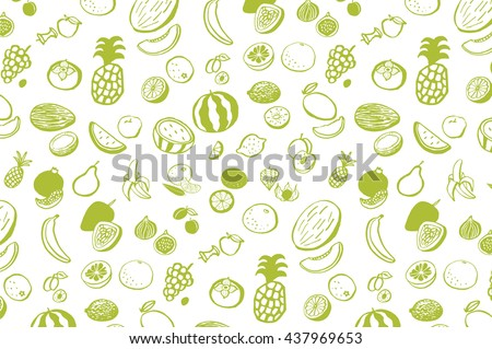 fruits graphic vector line pattern - stock vector