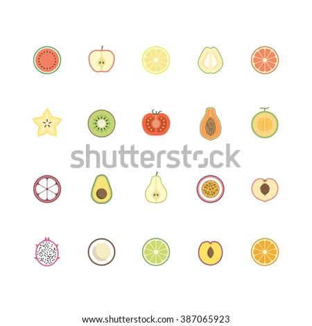 Fruits icon set. vector illustration.  - stock vector