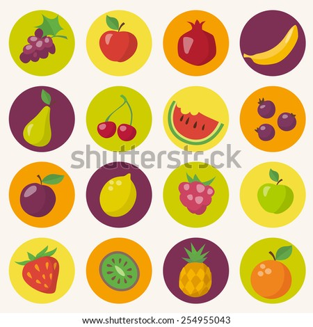 Fruits icons set in flat style - stock vector