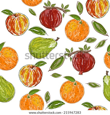 Fruits pattern - stock vector