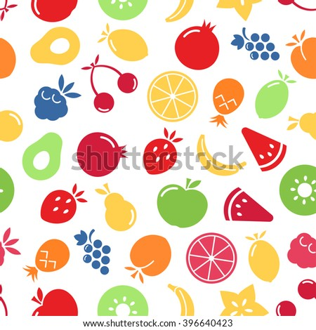 Fruits seamless pattern. Colorful fruits on white background. EPS 8. - stock vector