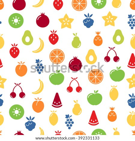 Fruits seamless pattern. EPS 8. - stock vector
