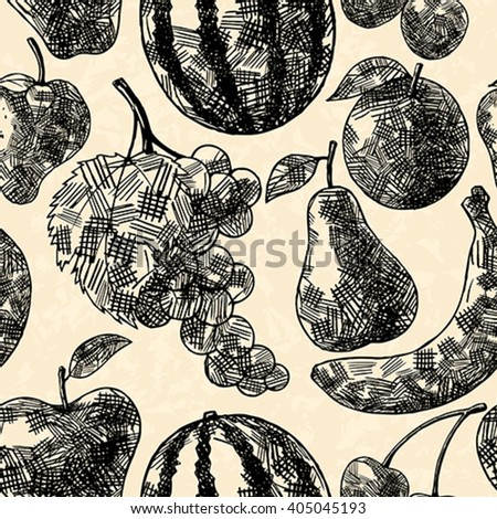 Fruits seamless pattern in hand drawn style - stock vector