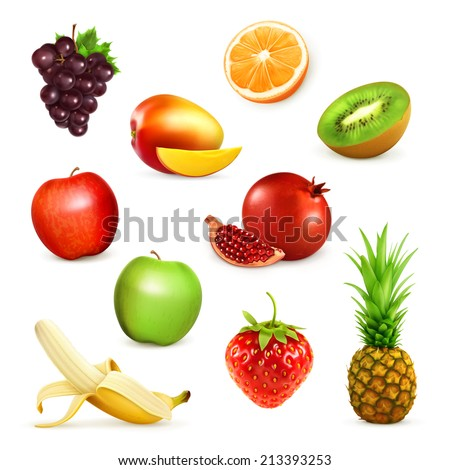 Fruits, set of vector illustrations - stock vector
