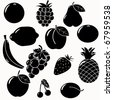 fruits silhouettes set. 13 fruits vectors - stock vector