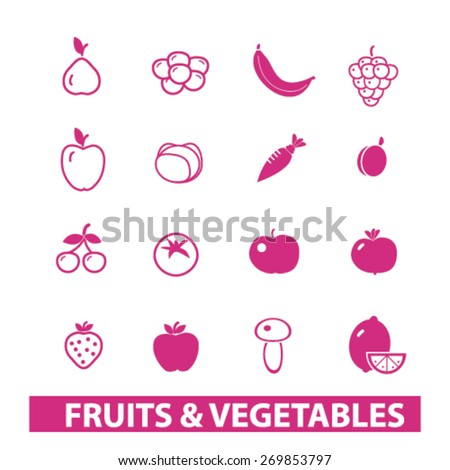 fruits, vegetables icons set, vector - stock vector
