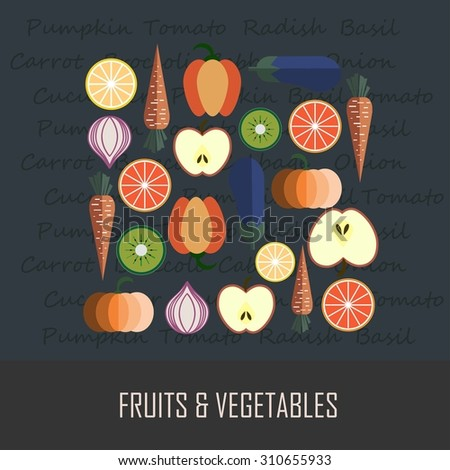 Fruits & Vegetables vector illustration, logo design, concept of healthy food, can be used for restaurant menu - stock vector