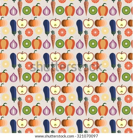 Fruits & Vegetables vector illustration,pattern design, concept of healthy food, can be used for restaurant menu - stock vector