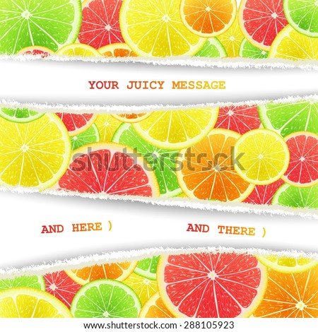 Fruity slices chaotically mixed background. Lemon, lime, orange and grapefruit art cocktail - stock vector