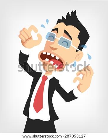 Frustrated businessman. Vector flat illustration - stock vector