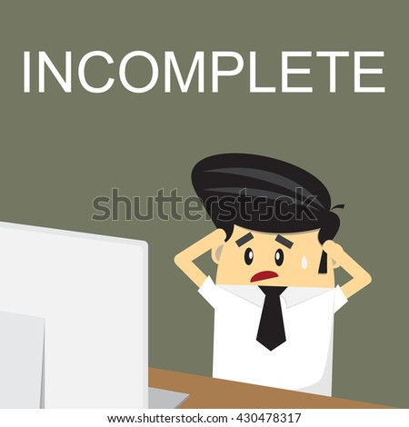 Frustrated desperate business man sitting over work at desk - stock vector