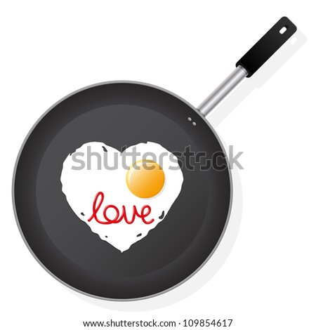 Frying pan with egg in the shape of heart with text Love. Vector illustration. - stock vector