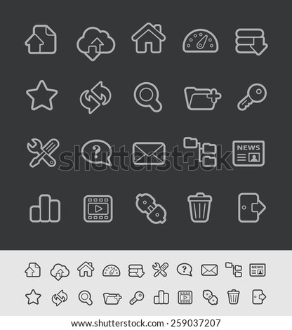 FTP & Hosting Icons // Black Line Series -- EPS 10+ Contain Transparencies - stock vector