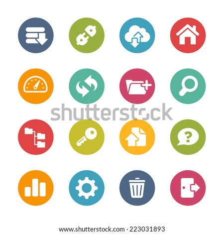 FTP & Hosting Icons // Fresh Colors Series ++ Icons and buttons in different layers, easy to change colors ++ - stock vector