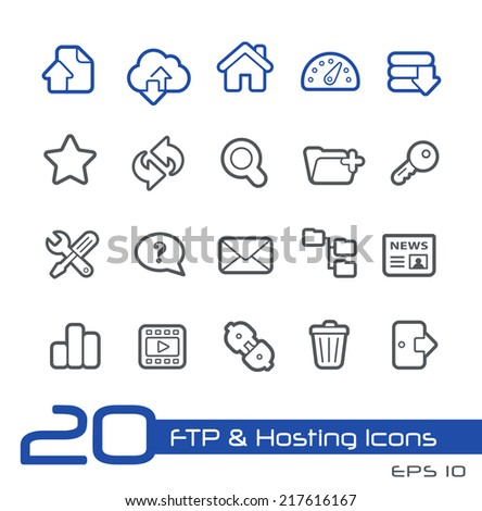 FTP & Hosting Icons // Line Series - stock vector