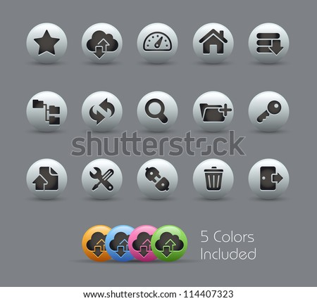 FTP & Hosting Icons // Pearly Series -------It includes 5 color versions for each icon in different layers --------- - stock vector