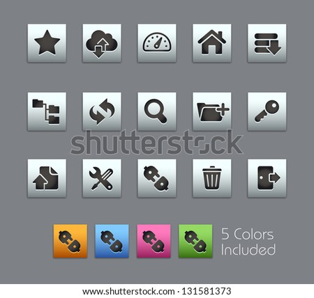 FTP & Hosting Icons // Satinbox Series -------It includes 5 color versions for each icon in different layers --------- - stock vector