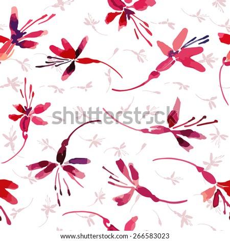 Fuchsia flowers vector pattern on white background - stock vector