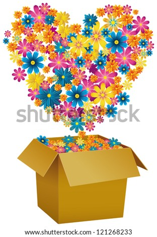 Fuchsia yellow blue and white flowers emerging from a cardboard box that end up forming a heart - stock vector