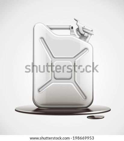 Fuel can for petrol in black oil pool. Eps10 vector illustration. - stock vector