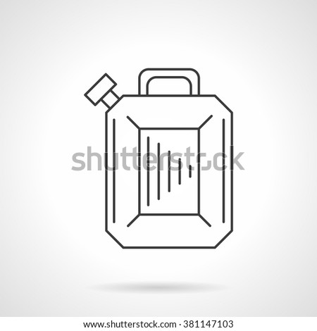 Fuel container jerry can, petrol canister. Oil industry. Gas station. Flat line style single vector icon. Element for web design, business, mobile app.  - stock vector